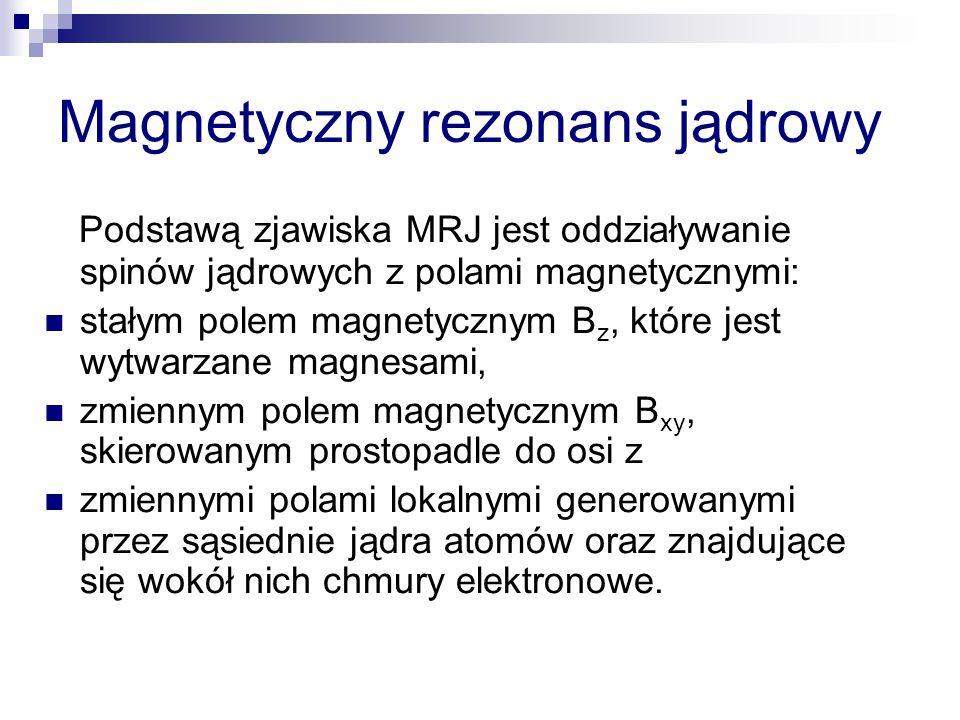 Magnetyczny rezonans jądrowy Podstawą zjawiska MRJ jest oddziaływanie spinów jądrowych z polami magnetycznymi: stałym polem magnetycznym B z, które je