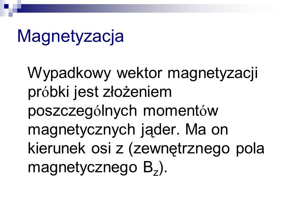 Magnetyzacja Wypadkowy wektor magnetyzacji pr ó bki jest złożeniem poszczeg ó lnych moment ó w magnetycznych jąder. Ma on kierunek osi z (zewnętrznego