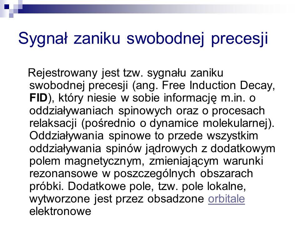 Sygnał zaniku swobodnej precesji Rejestrowany jest tzw.