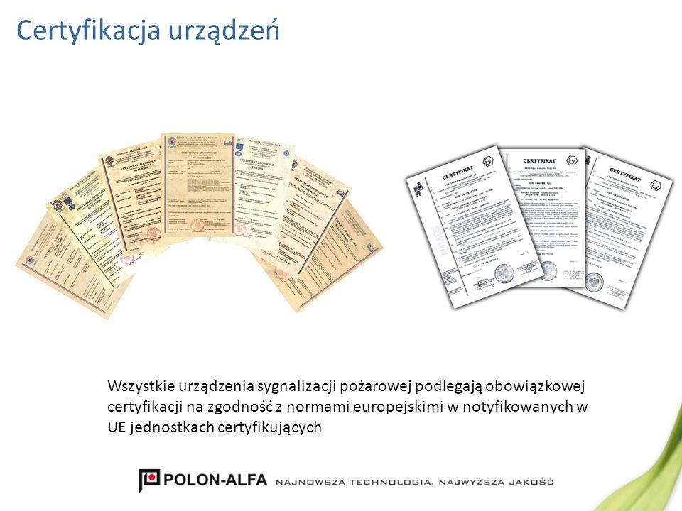 Certyfikacja urządzeń Wszystkie urządzenia sygnalizacji pożarowej podlegają obowiązkowej certyfikacji na zgodność z normami europejskimi w notyfikowan