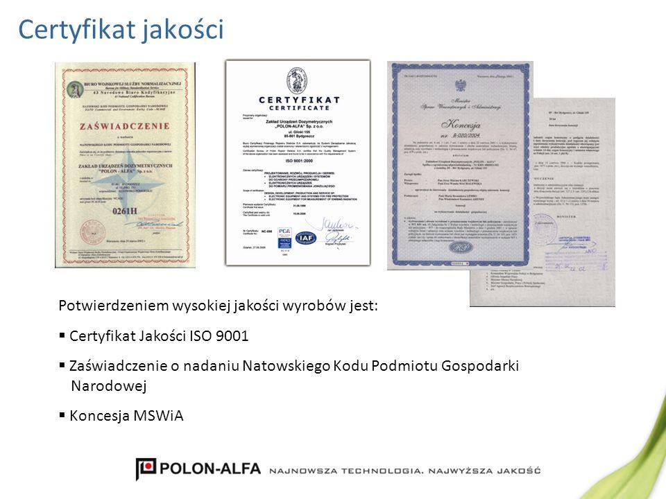 Certyfikat jakości Potwierdzeniem wysokiej jakości wyrobów jest: Certyfikat Jakości ISO 9001 Zaświadczenie o nadaniu Natowskiego Kodu Podmiotu Gospoda