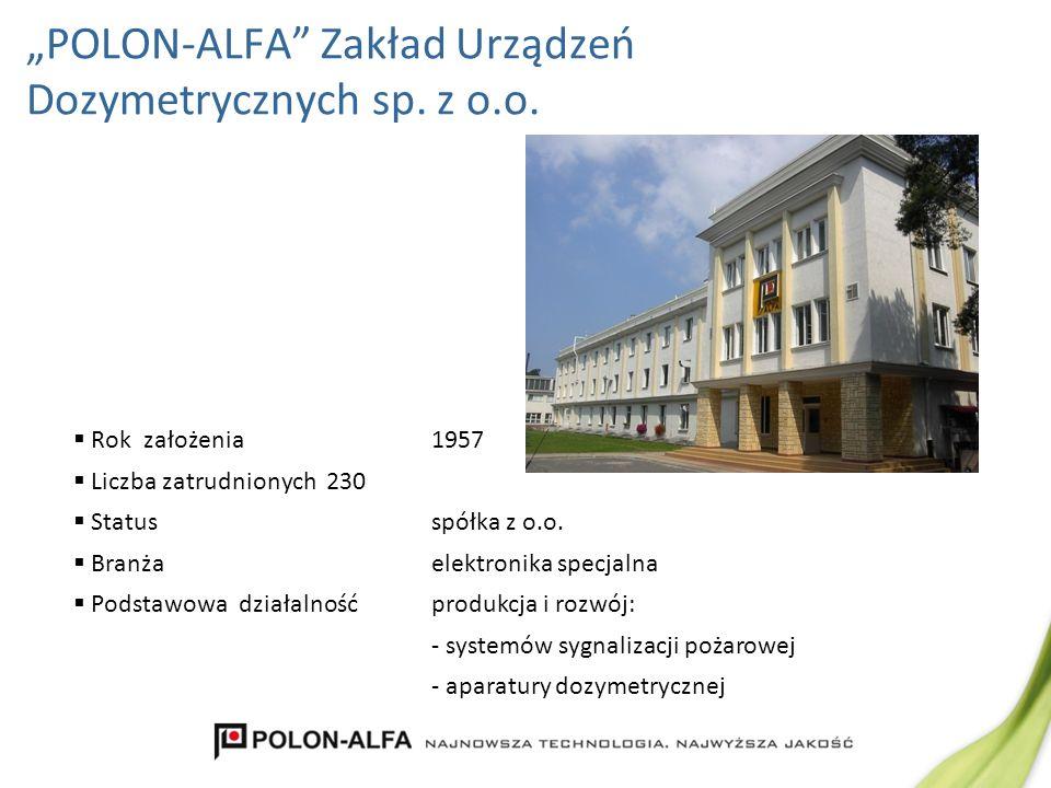 Rok założenia1957 Liczba zatrudnionych230 Statusspółka z o.o. Branżaelektronika specjalna Podstawowa działalność produkcja i rozwój: - systemów sygnal