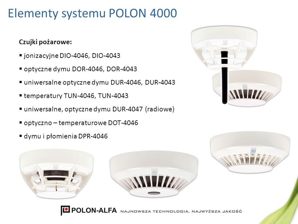 Elementy systemu POLON 4000 Czujki pożarowe: jonizacyjne DIO-4046, DIO-4043 optyczne dymu DOR-4046, DOR-4043 uniwersalne optyczne dymu DUR-4046, DUR-4