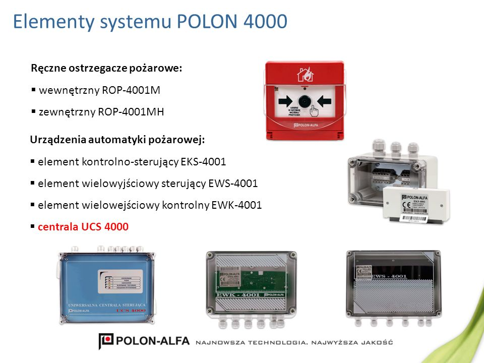 Elementy systemu POLON 4000 Ręczne ostrzegacze pożarowe: wewnętrzny ROP-4001M zewnętrzny ROP-4001MH Urządzenia automatyki pożarowej: element kontrolno