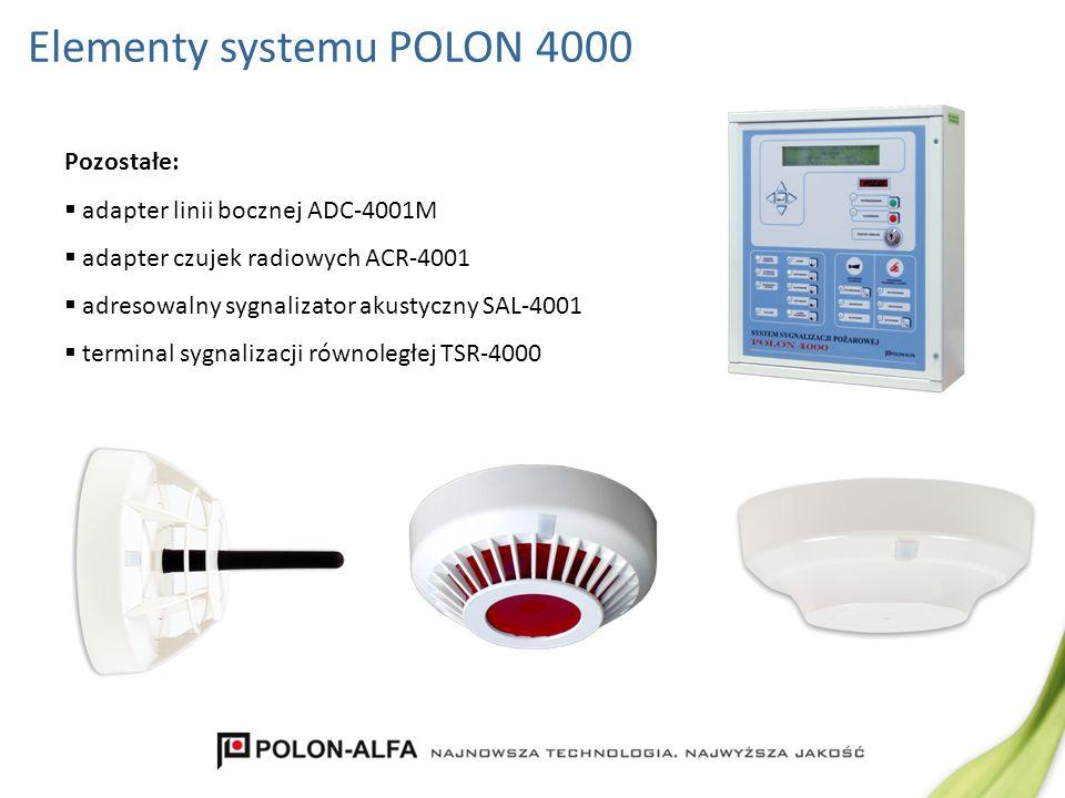 Pozostałe: adapter linii bocznej ADC-4001M adapter czujek radiowych ACR-4001 adresowalny sygnalizator akustyczny SAL-4001 terminal sygnalizacji równol