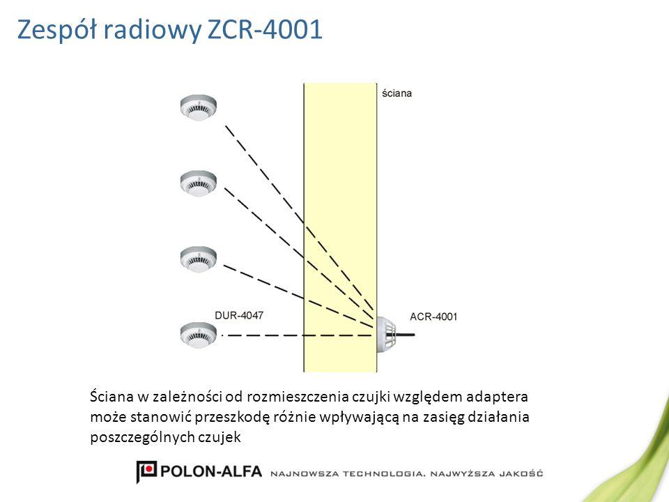 Zespół radiowy ZCR-4001 Ściana w zależności od rozmieszczenia czujki względem adaptera może stanowić przeszkodę różnie wpływającą na zasięg działania