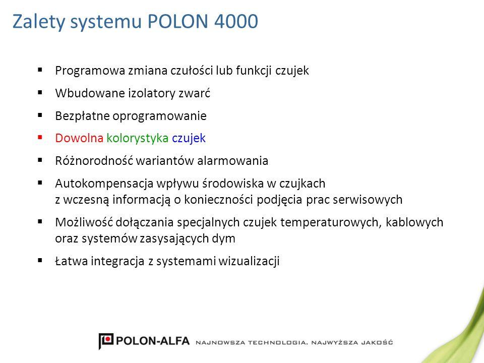 Zalety systemu POLON 4000 Programowa zmiana czułości lub funkcji czujek Wbudowane izolatory zwarć Bezpłatne oprogramowanie Dowolna kolorystyka czujek