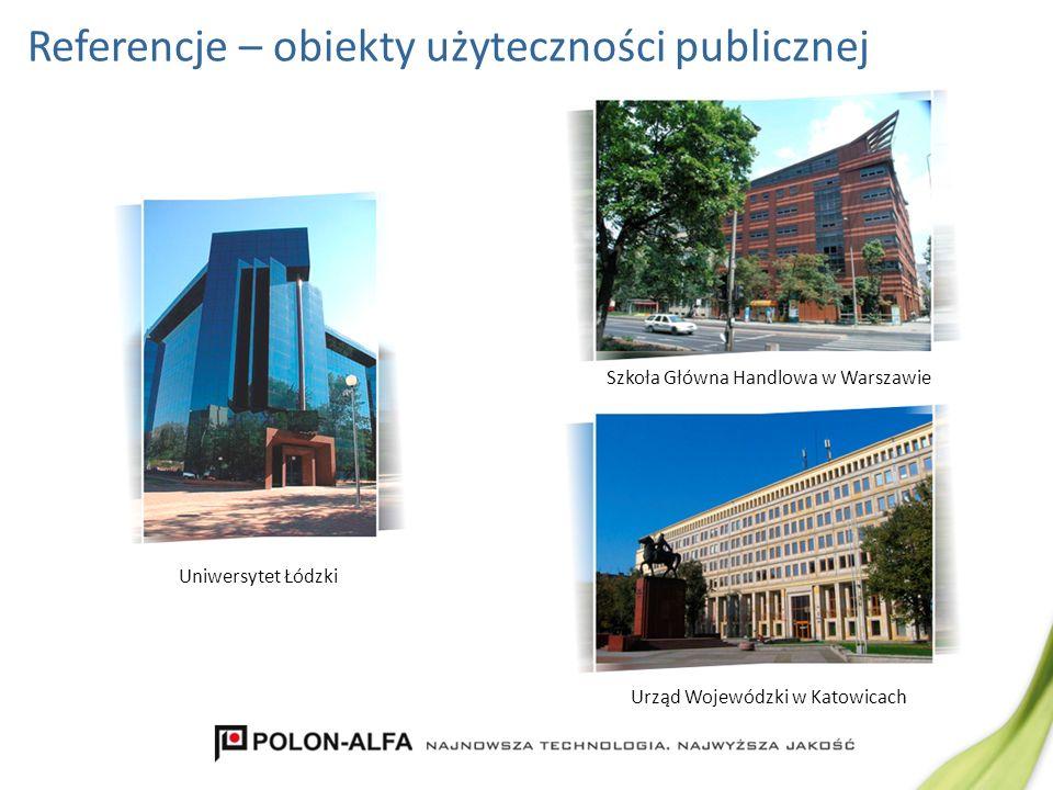 Referencje – obiekty użyteczności publicznej Urząd Wojewódzki w Katowicach Szkoła Główna Handlowa w Warszawie Uniwersytet Łódzki