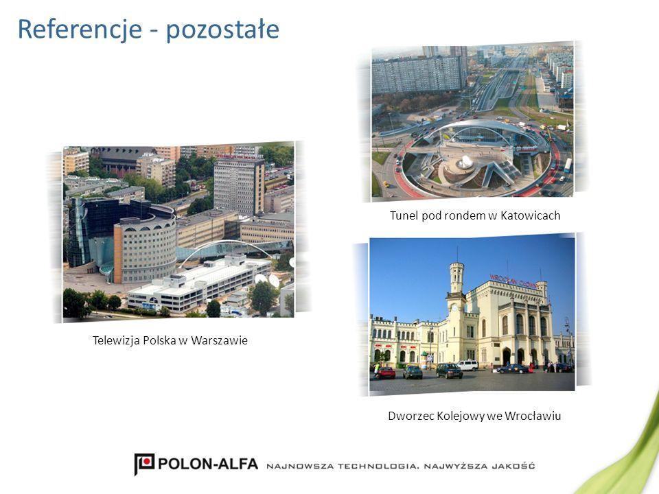 Referencje - pozostałe Dworzec Kolejowy we Wrocławiu Tunel pod rondem w Katowicach Telewizja Polska w Warszawie
