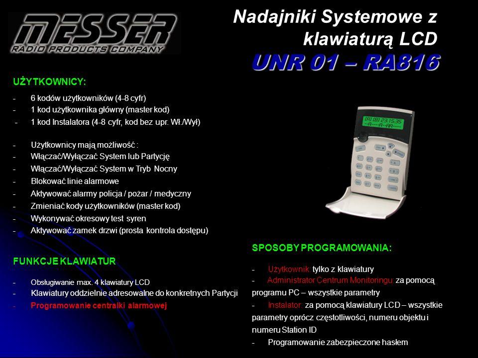 UŻYTKOWNICY: -6 kodów użytkowników (4-8 cyfr) -1 kod użytkownika główny (master kod) -1 kod Instalatora (4-8 cyfr, kod bez upr. Wł./Wył) -Użytkownicy