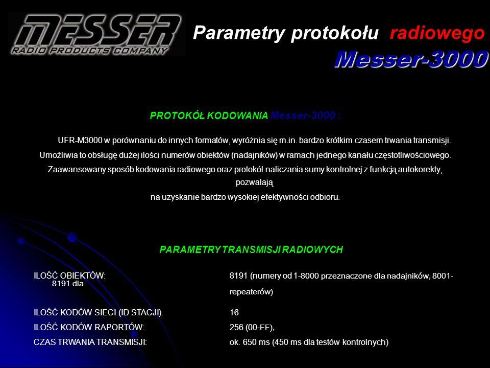 PROTOKÓŁ KODOWANIA Messer-3000 : UFR-M3000 w porównaniu do innych formatów, wyróżnia się m.in. bardzo krótkim czasem trwania transmisji. Umożliwia to