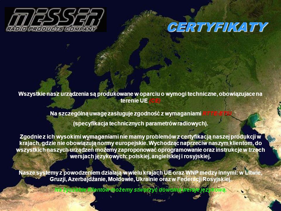 CERTYFIKATY Wszystkie nasz urządzenia są produkowane w oparciu o wymogi techniczne, obowiązujace na terenie UE (СЕ) Na szczególną uwagę zasługuje zgod