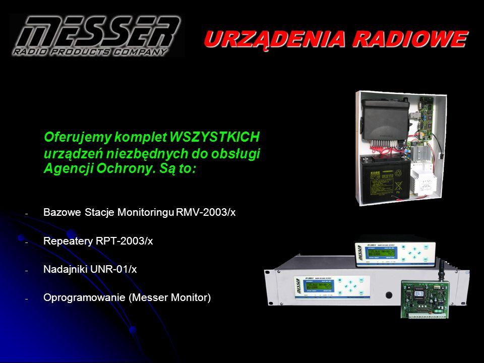 RMV-2003/x Stacje Monitoringu RMV-2003/x Właściwości ogólne: - - 3 wersji obudowy: RAK-19, MINI-19cm lub PC-BOX - - Kompatybilność z protokołami radiowymi: Messer UFR-M i M3000, Lars, Lars1, MilcolD 3+1 oraz 4+2 (Visonic 32b), - - Cyfrowy pomiar poziomu sygnału radiowego, - - Dwustronna komunikacja z repeaterami - - Bufor odebranych wiadomości (do 16 384 zapisów), - - 2 łącza RS-232: - - Dla komunikacji z różnym oprogramowaniem (wiele popularnych protokołów) - - Dla komunikacji z drukarką (np.: EPSON LX 300+) Właściwości techniczne: - - 4 wyjścia alarmowe aktywowane przez odbierane wiadomości - - 2 wejścia alarmowe aktywowane przez dowolne urządzenia zewnętrzne - - Zasilacz buforowany z akumulatorem 12V/7Ah - - Kompatybilność sygnałów z transceiverami Motorola GM-340.