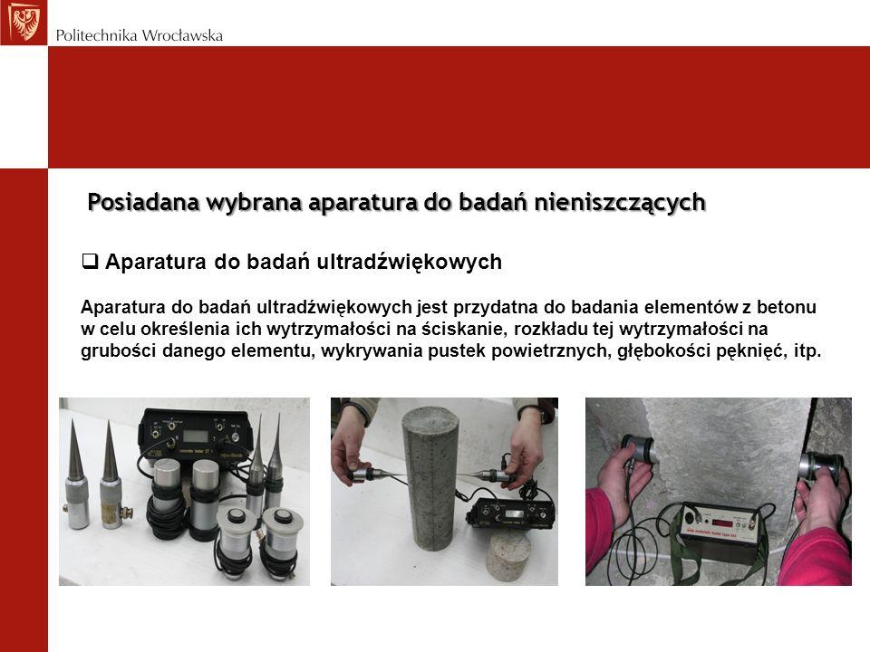 Aparatura do badań ultradźwiękowych Aparatura do badań ultradźwiękowych jest przydatna do badania elementów z betonu w celu określenia ich wytrzymałoś