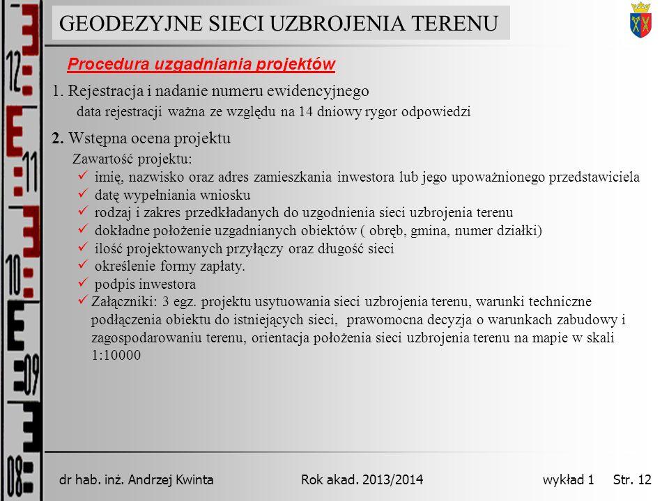 GEODEZJA INŻYNIERYJNA Rok akad. 2013/2014dr hab. inż. Andrzej Kwinta wykład 1 Str. 12 GEODEZYJNE SIECI UZBROJENIA TERENU 2. Wstępna ocena projektu Zaw