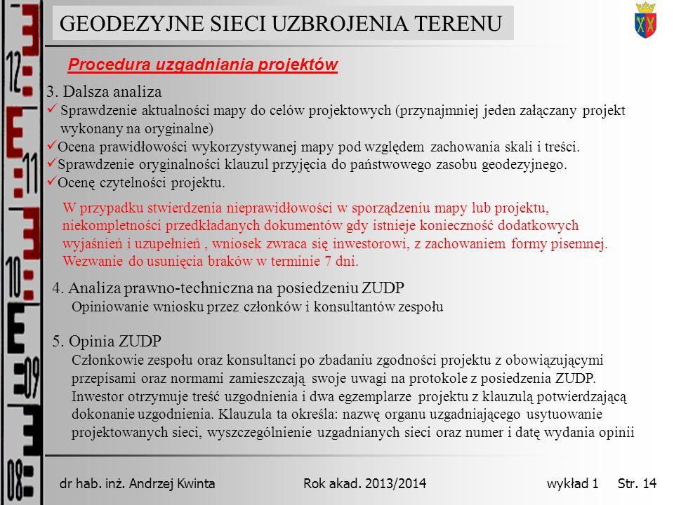 GEODEZJA INŻYNIERYJNA Rok akad. 2013/2014dr hab. inż. Andrzej Kwinta wykład 1 Str. 14 GEODEZYJNE SIECI UZBROJENIA TERENU Procedura uzgadniania projekt
