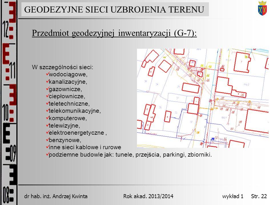 GEODEZJA INŻYNIERYJNA Rok akad. 2013/2014dr hab. inż. Andrzej Kwinta wykład 1 Str. 22 Przedmiot geodezyjnej inwentaryzacji (G-7): GEODEZYJNE SIECI UZB