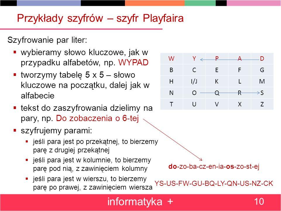 Przykłady szyfrów – szyfr Playfaira Szyfrowanie par liter: wybieramy słowo kluczowe, jak w przypadku alfabetów, np. WYPAD tworzymy tabelę 5 x 5 – słow