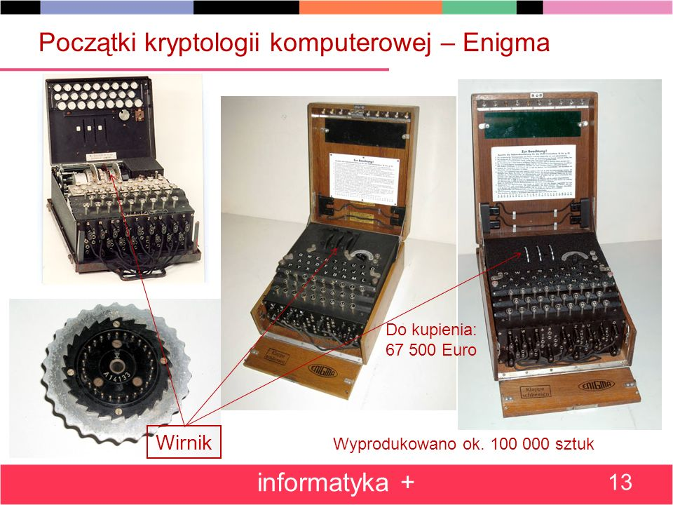 Początki kryptologii komputerowej – Enigma informatyka + 13 Do kupienia: 67 500 Euro Wyprodukowano ok. 100 000 sztuk Wirnik