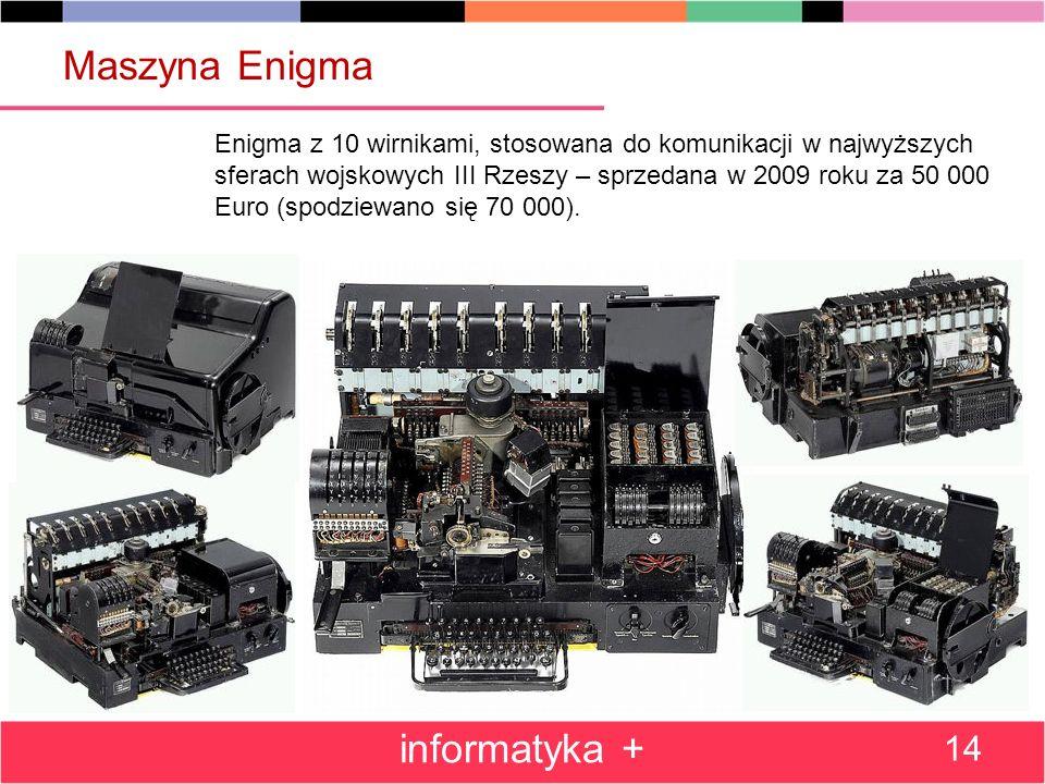 informatyka + 14 Maszyna Enigma Enigma z 10 wirnikami, stosowana do komunikacji w najwyższych sferach wojskowych III Rzeszy – sprzedana w 2009 roku za