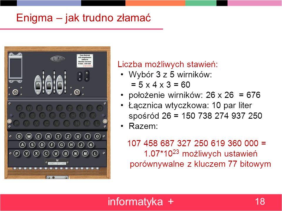 Enigma – jak trudno złamać informatyka + 18 Liczba możliwych stawień: Wybór 3 z 5 wirników: = 5 x 4 x 3 = 60 położenie wirników: 26 x 26 = 676 Łącznic