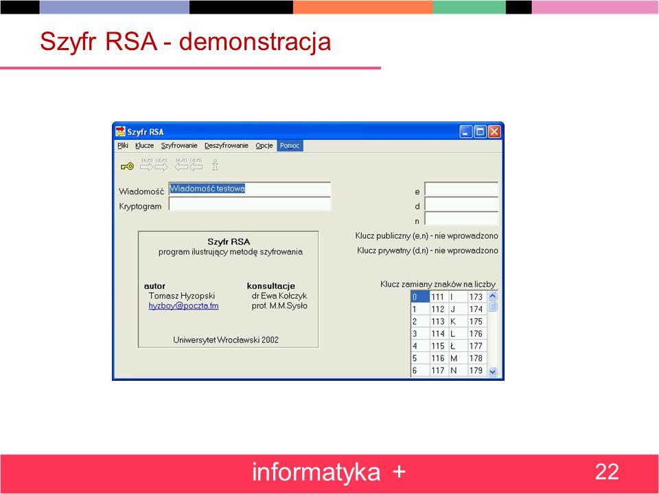 Szyfr RSA - demonstracja informatyka + 22