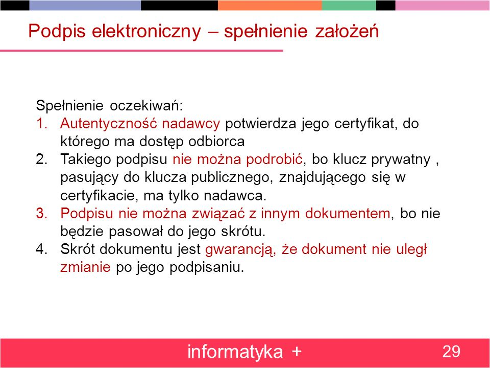 Podpis elektroniczny – spełnienie założeń informatyka + 29 Spełnienie oczekiwań: 1.Autentyczność nadawcy potwierdza jego certyfikat, do którego ma dos