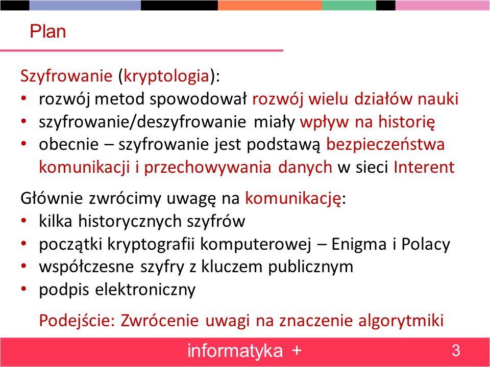 Plan informatyka + 3 Szyfrowanie (kryptologia): rozwój metod spowodował rozwój wielu działów nauki szyfrowanie/deszyfrowanie miały wpływ na historię o