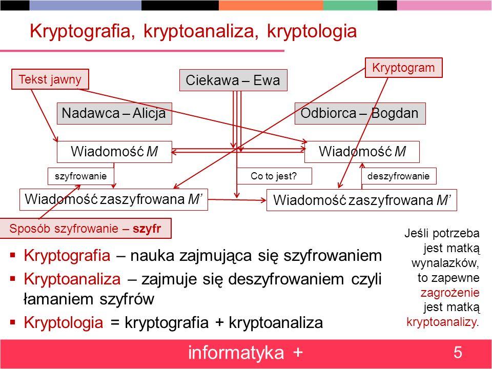 Kryptografia, kryptoanaliza, kryptologia Kryptografia – nauka zajmująca się szyfrowaniem Kryptoanaliza – zajmuje się deszyfrowaniem czyli łamaniem szy