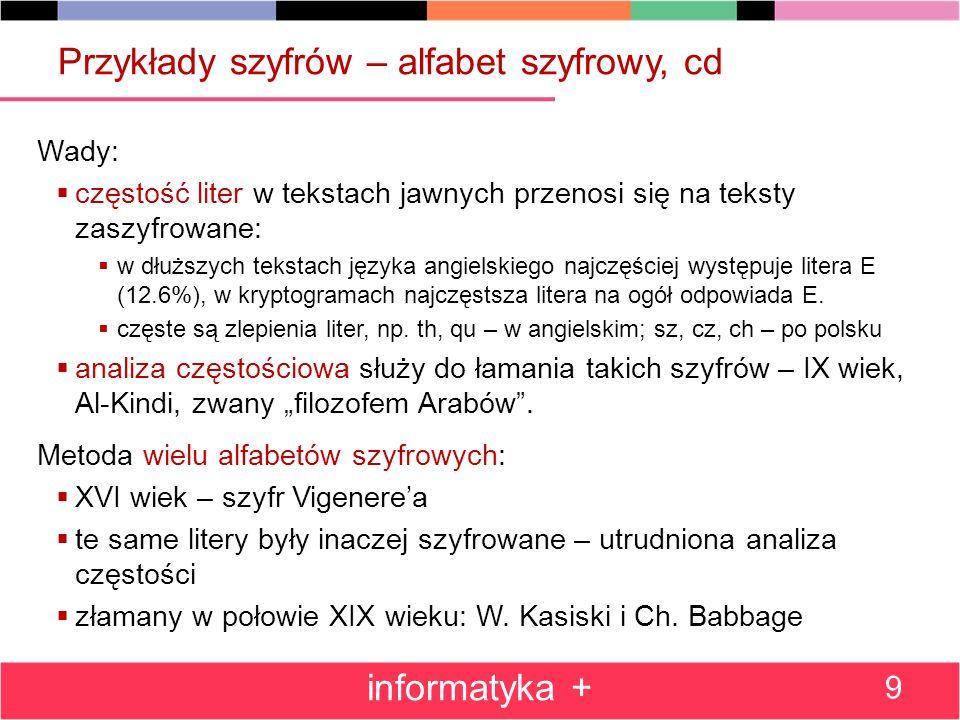 Przykłady szyfrów – alfabet szyfrowy, cd Wady: częstość liter w tekstach jawnych przenosi się na teksty zaszyfrowane: w dłuższych tekstach języka angi