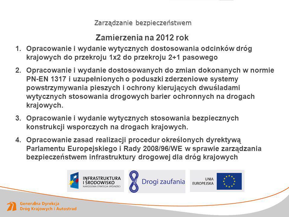 Zamierzenia na 2012 rok Zarządzanie bezpieczeństwem 1.Opracowanie i wydanie wytycznych dostosowania odcinków dróg krajowych do przekroju 1x2 do przekr