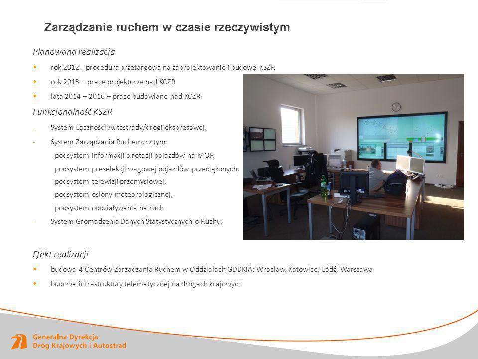 Planowana realizacja rok 2012 - procedura przetargowa na zaprojektowanie i budowę KSZR rok 2013 – prace projektowe nad KCZR lata 2014 – 2016 – prace b