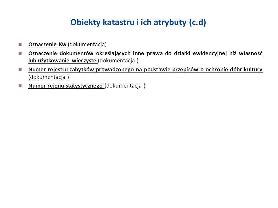 Obiekty katastru i ich atrybuty (c.d) Oznaczenie Kw (dokumentacja) Oznaczenie dokumentów określających inne prawa do działki ewidencyjnej niż własność