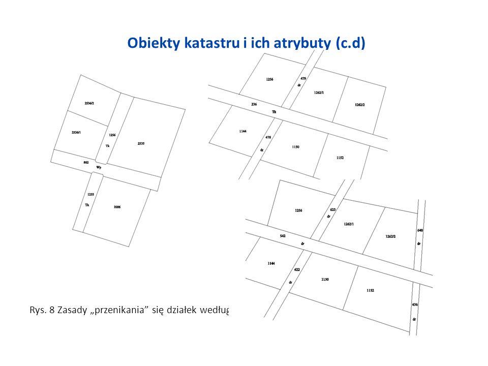 Obiekty katastru i ich atrybuty (c.d) Rys. 8 Zasady przenikania się działek według rozp01