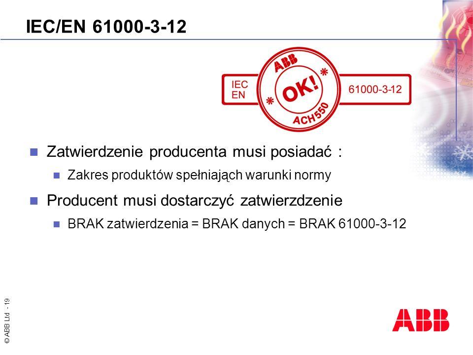 © ABB Ltd - 19 IEC/EN 61000-3-12 Zatwierdzenie producenta musi posiadać : Zakres produktów spełniająch warunki normy Producent musi dostarczyć zatwier