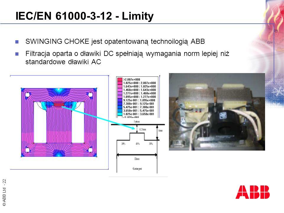 © ABB Ltd - 22 IEC/EN 61000-3-12 - Limity SWINGING CHOKE jest opatentowaną technoilogią ABB Filtracja oparta o dławiki DC spełniają wymagania norm lep