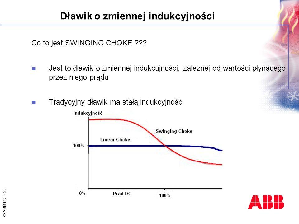 © ABB Ltd - 23 Dławik o zmiennej indukcyjności Co to jest SWINGING CHOKE ??? Jest to dławik o zmiennej indukcujności, zależnej od wartości płynącego p