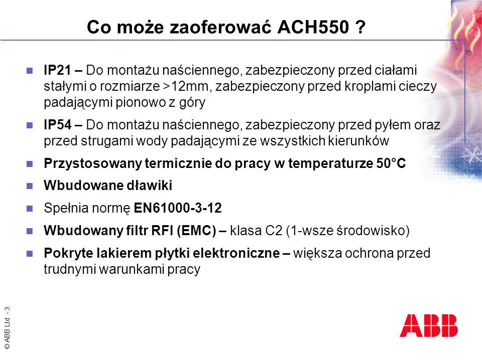 © ABB Ltd - 3 Co może zaoferować ACH550 ? IP21 – Do montażu naściennego, zabezpieczony przed ciałami stałymi o rozmiarze >12mm, zabezpieczony przed kr
