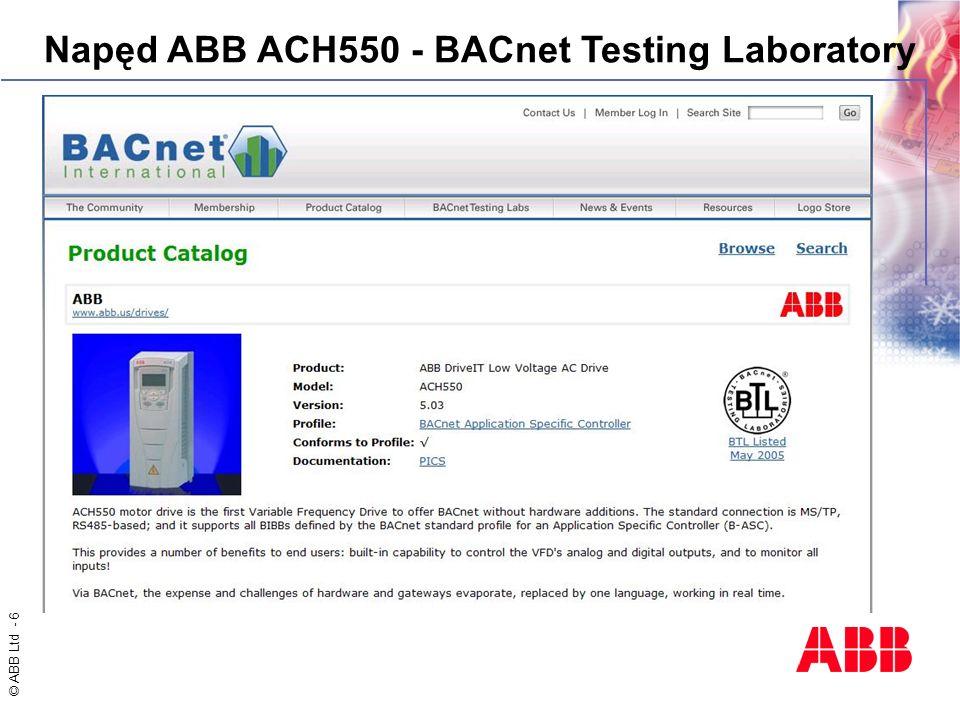 © ABB Ltd - 6 Napęd ABB ACH550 - BACnet Testing Laboratory