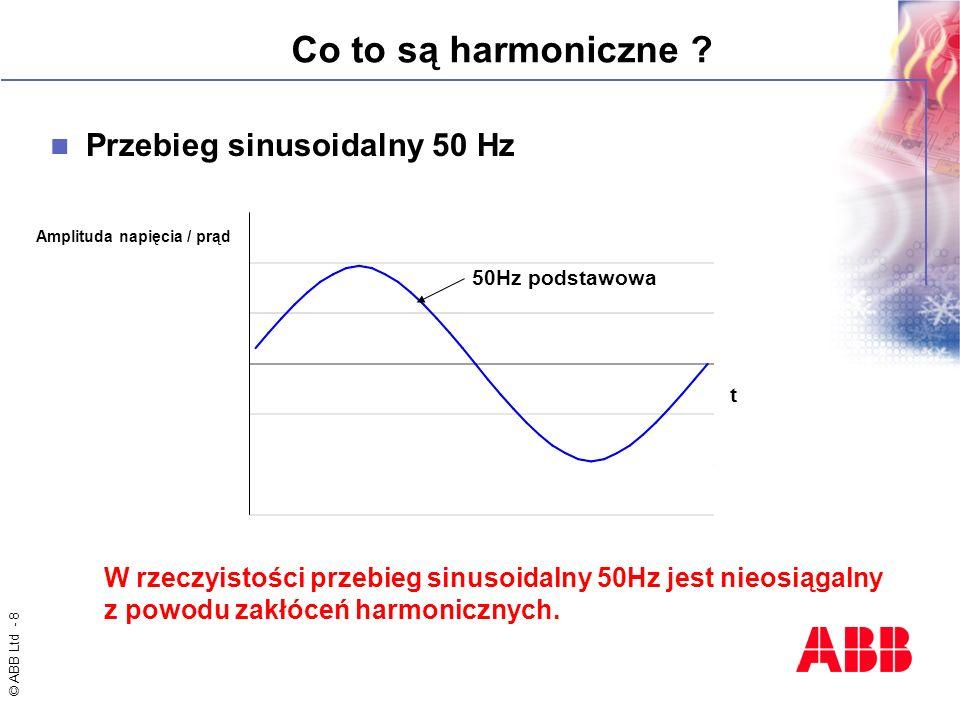 © ABB Ltd - 8 Co to są harmoniczne ? Przebieg sinusoidalny 50 Hz t Amplituda napięcia / prąd 50Hz podstawowa W rzeczyistości przebieg sinusoidalny 50H
