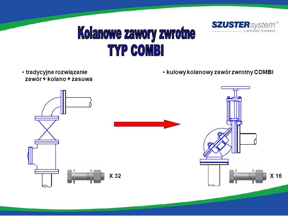 tradycyjne rozwiązanie zawór + kolano + zasuwa kulowy kolanowy zawór zwrotny COMBI X 32 X 16