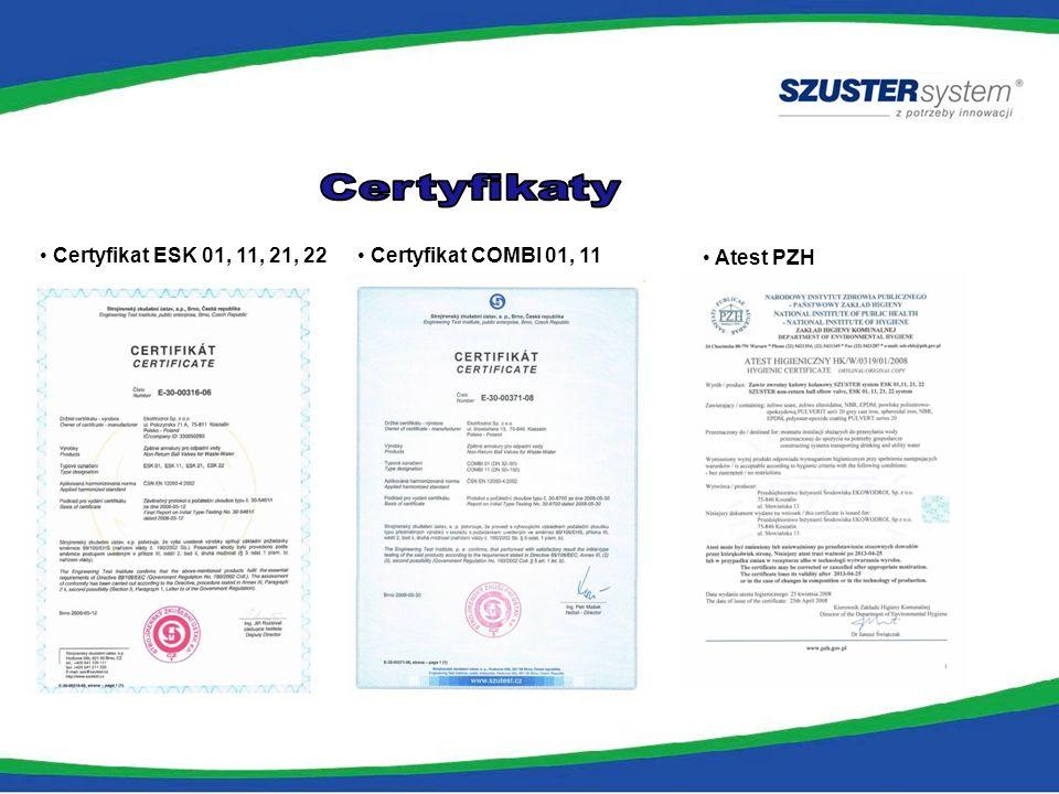 Certyfikat ESK 01, 11, 21, 22 Certyfikat COMBI 01, 11 Atest PZH