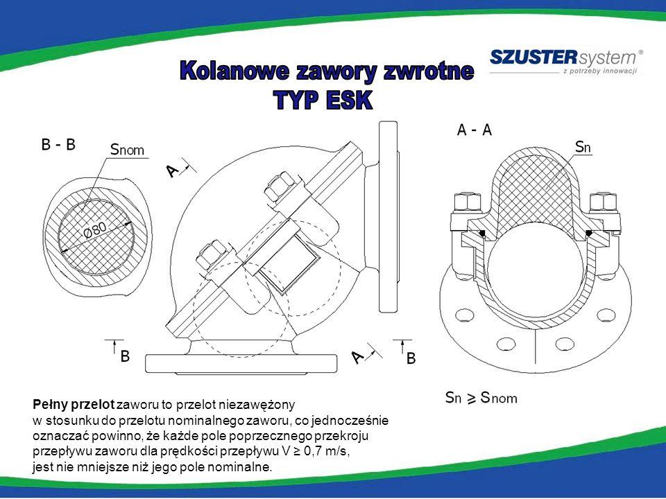 Zalety: spełnia warunki prześwitu dla części stałych (PN-EN 12050-4) bez wymuszonych wibracji kuli pełne otwarcie zaworu dla prędkości przepływu od 0,7m/s położenie serwisowe pokrywy – na szpilkach bardzo ciche i niezawodne działanie łatwy dostęp do wnętrza w tym do kuli zwarta i prosta budowa eliminuje jedno połączenie kołnierzowe