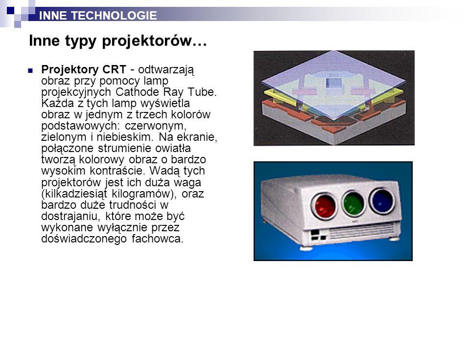 Projektory CRT - odtwarzają obraz przy pomocy lamp projekcyjnych Cathode Ray Tube. Każda z tych lamp wyświetla obraz w jednym z trzech kolorów podstaw