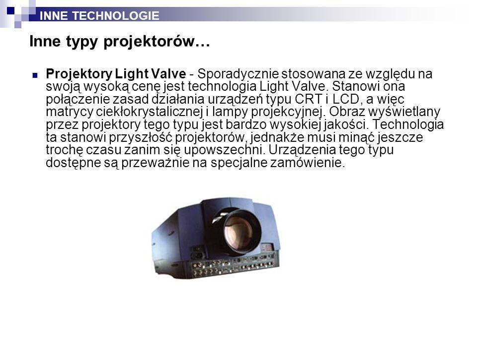 Projektory Light Valve - Sporadycznie stosowana ze względu na swoją wysoką cenę jest technologia Light Valve. Stanowi ona połączenie zasad działania u