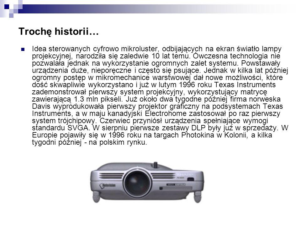 Trochę historii… Idea sterowanych cyfrowo mikroluster, odbijających na ekran światło lampy projekcyjnej, narodziła się zaledwie 10 lat temu. Ówczesna