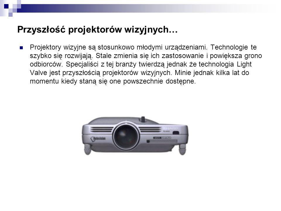 Przyszłość projektorów wizyjnych… Projektory wizyjne są stosunkowo młodymi urządzeniami. Technologie te szybko się rozwijają. Stale zmienia się ich za