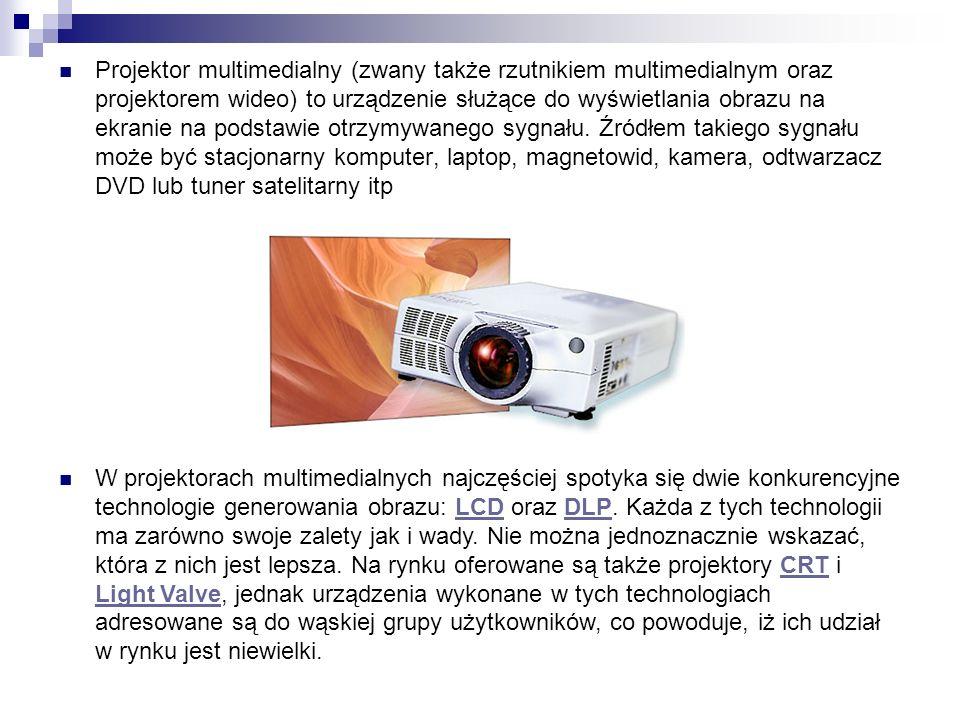 Wyposażenie i funkcje CZYTNIK KART PAMIĘCI Niektóre projektory multimedialne posiadają możliwość prezentacji bez użycia komputera.