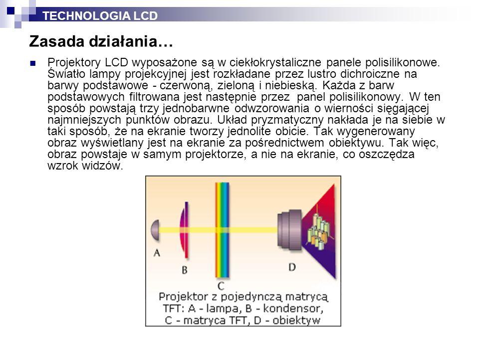 Projektory LCD wyposażone są w ciekłokrystaliczne panele polisilikonowe. Światło lampy projekcyjnej jest rozkładane przez lustro dichroiczne na barwy