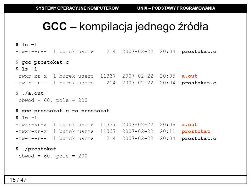SYSTEMY OPERACYJNE KOMPUTERÓW UNIX – PODSTAWY PROGRAMOWANIA 15 / 47 GCC – kompilacja jednego źródła $ ls –l -rw-r--r-- 1 burek users 214 2007-02-22 20